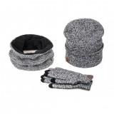 3 Pieces Set Winter Ski Warm And Gloves Cotton Unisex Hat Scarf Gloves Solid  For Men Women