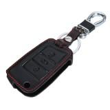 3 Buttons PU Leather Key Case Cover For Skoda Octavia Fabia Superb Yeti Rapid