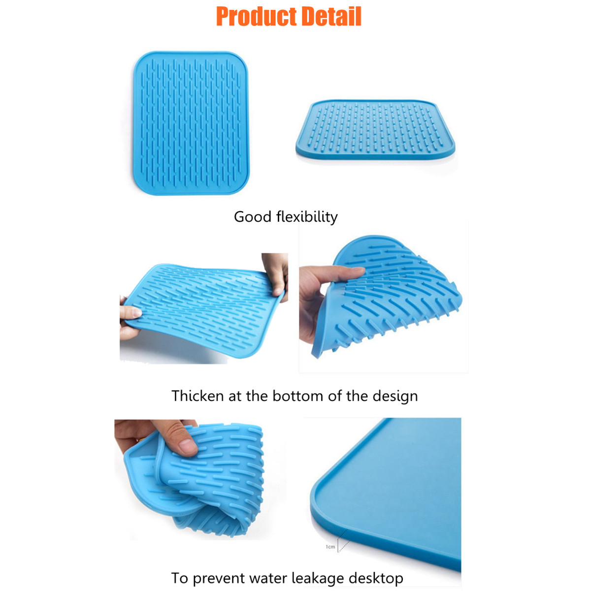 Silicone Non-slip Mat Heat Resistant Table Placemat Kitchen Sink Dishes Cup Dry Coaster