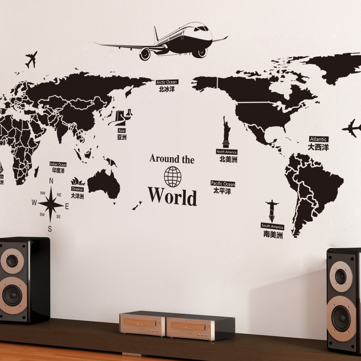 World map wall stickers removable pvc map of the world art decals world map wall stickers removable pvc map of the world art decals for living room home gumiabroncs Image collections