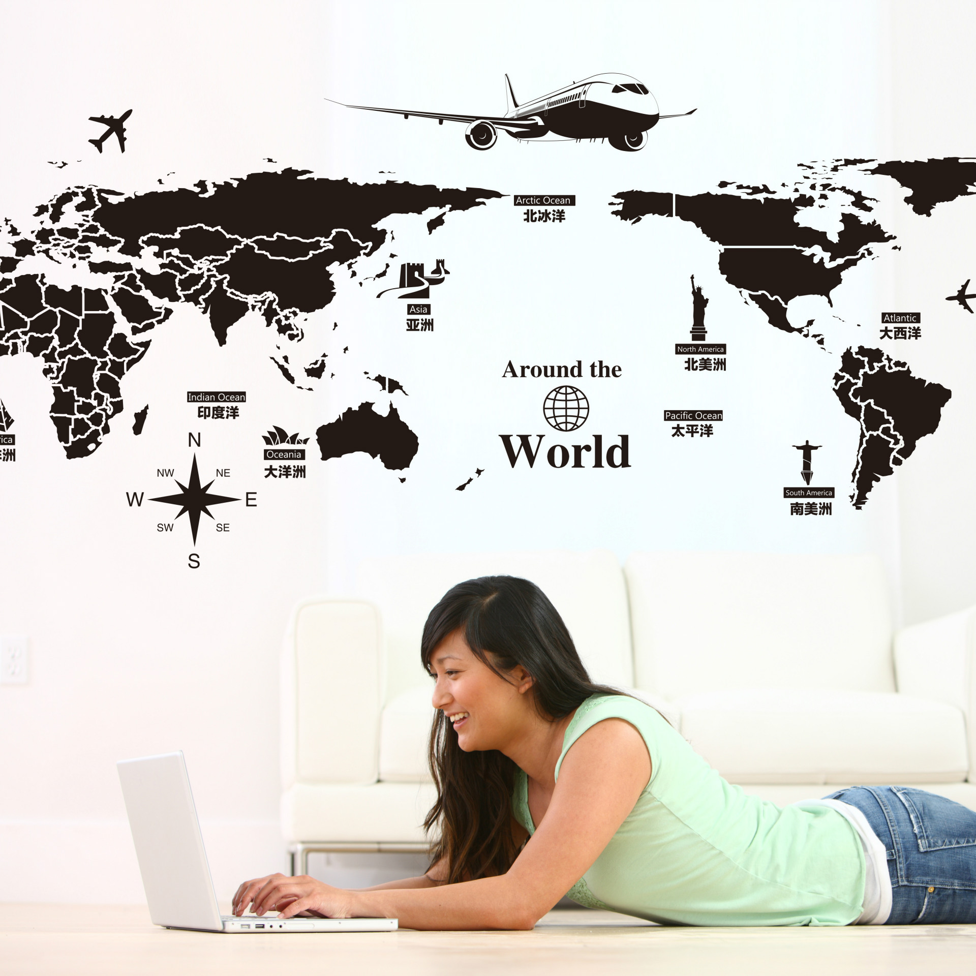 World Map Wall Stickers Removable PVC Map Of The World  Art Decals for Living Room Home Decor