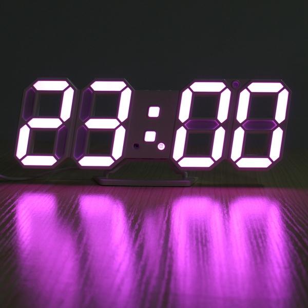 3D LED Digital Wall Clock Alarm Clock USB Stereo Clock BuiltIn