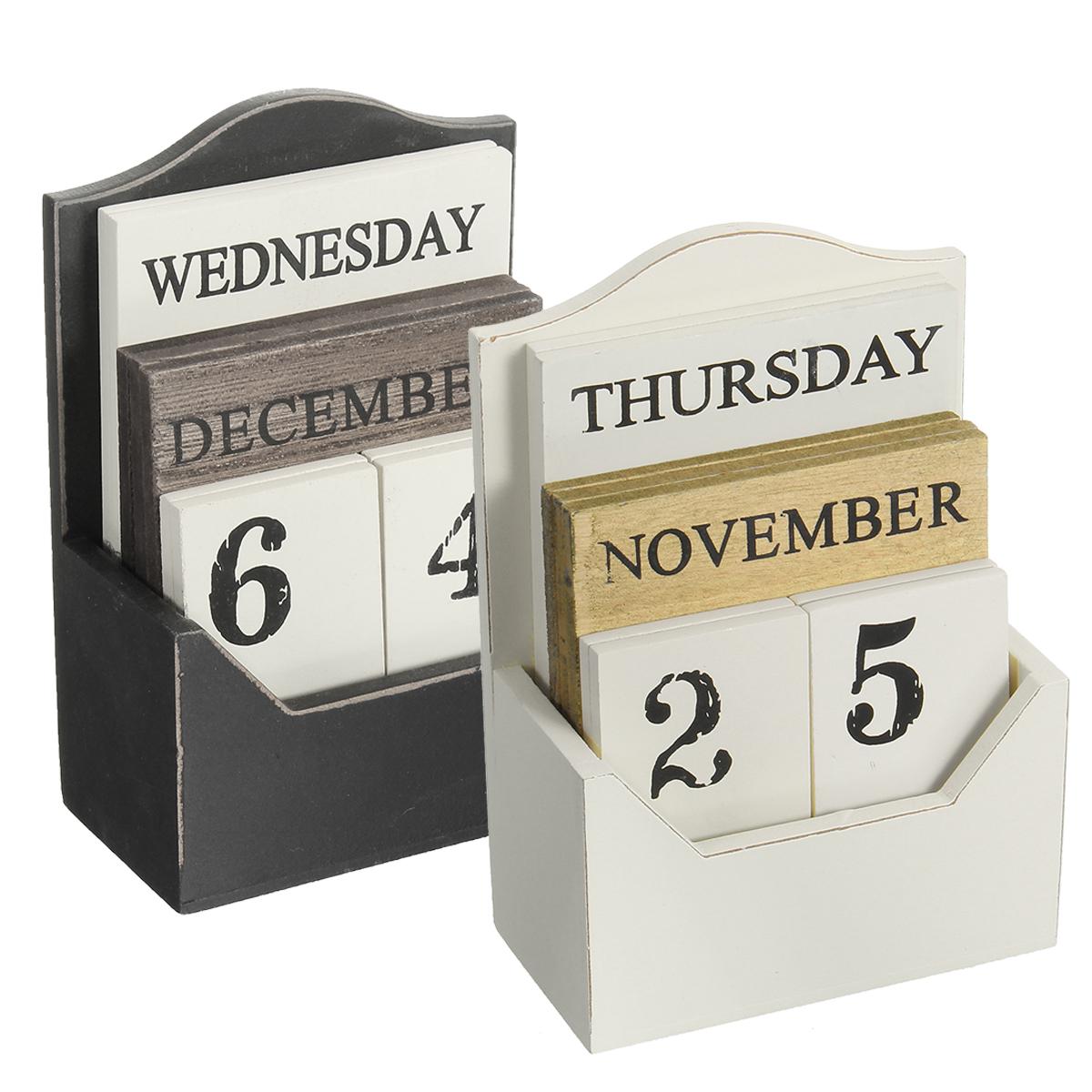 Vintage Wood Block Perpetual Desktop Calendar Rustic Wooden Office Home Desk Decor