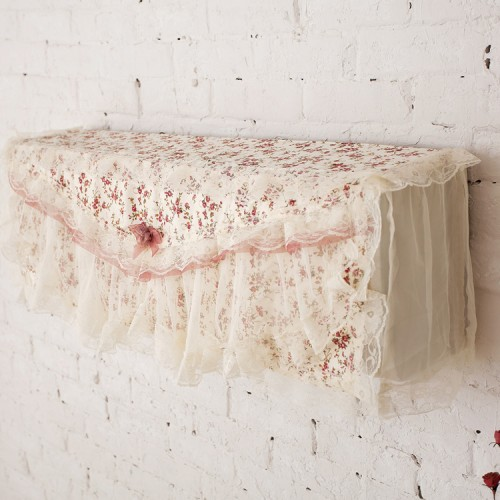 Pastoral Lace Fabric Flower Hook Cover Cotton Air Conditioning Cover Cloth Dust Cover