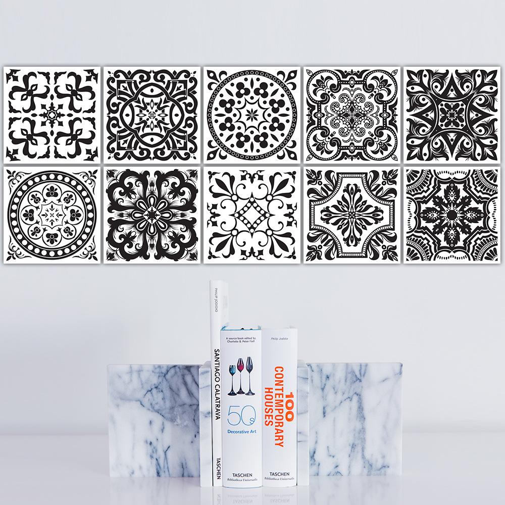 Funlife Black And White Retro European Bathroom Tile Plaster Anti Oil Wall