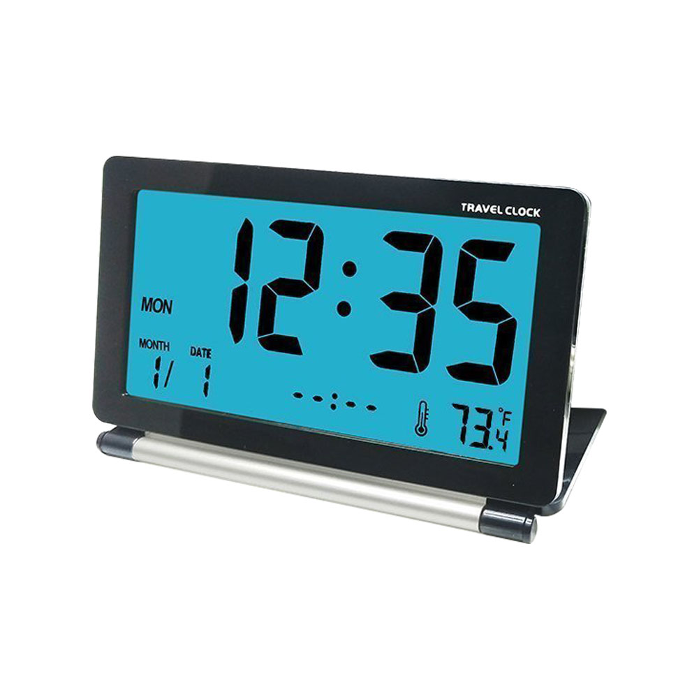 Loskii Dc 12 Travel Alarm Clock Lcd Mini Digital Desk Folding Electronic With Backlight