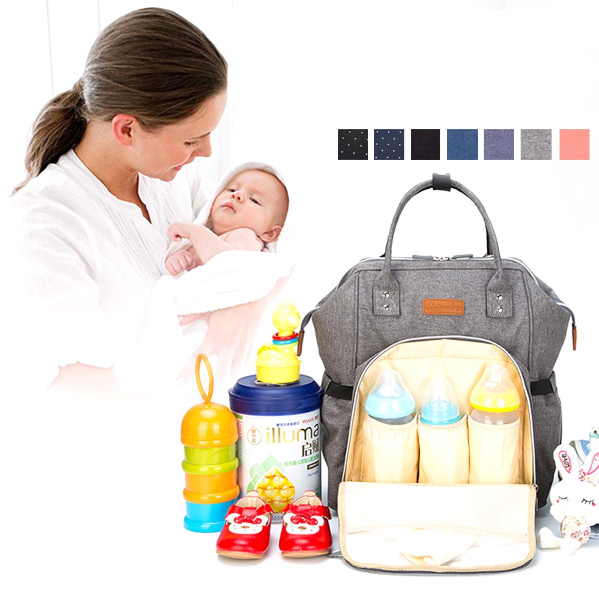 4Pcs Mummy Nappy Diaper Bag Set Nappy Diaper With Nursing Feeding Bottle Pouch Baby Car Hook
