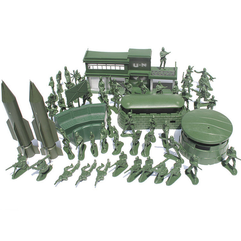 56PCS 5CM Military Soldiers Set Kit Figures Accessories Model For Kids  Children Christmas Gift Toys
