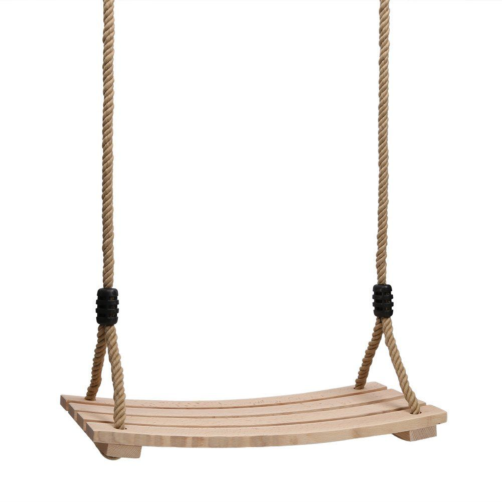 Wood Hanging Rope Swing Seat Kid Adult Outdoor Backyard Playground