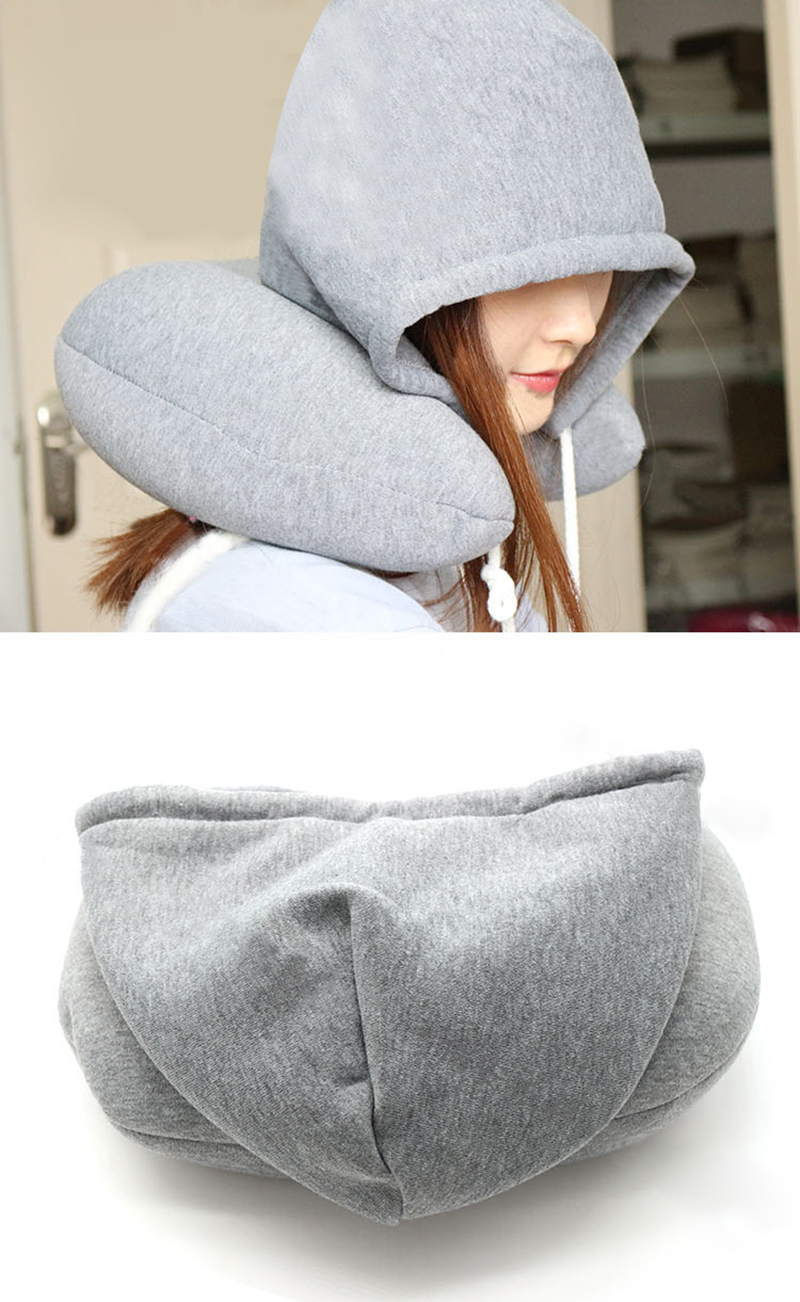 Hooded U-shaped Pillow Home Outdoor Travel Car Cushion Airplane Comfortable Neck Protectors