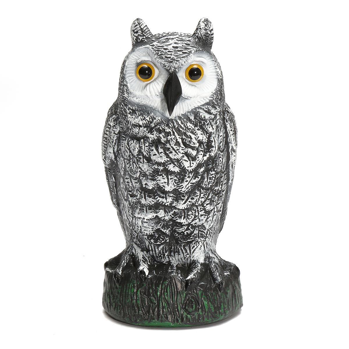 Plastic Standing Fake Owl Hunting Decoy Deterrent Scarer Repeller Garden  Decor