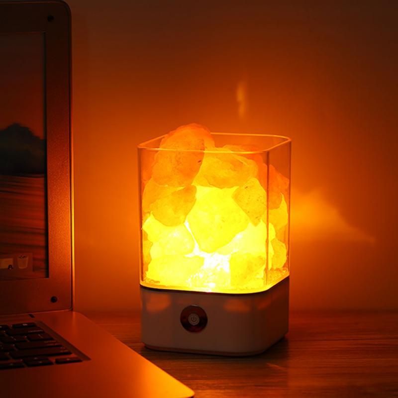 Night Light With Light Fixtures: USB Power Supply Natural Himalayan Salt Lamp Unique