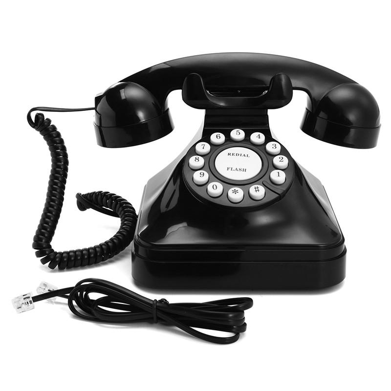 Vintage Retro Antique Phone Wired Corded Landline Telephone Home Desk  Decoration Black | Alexnld.com