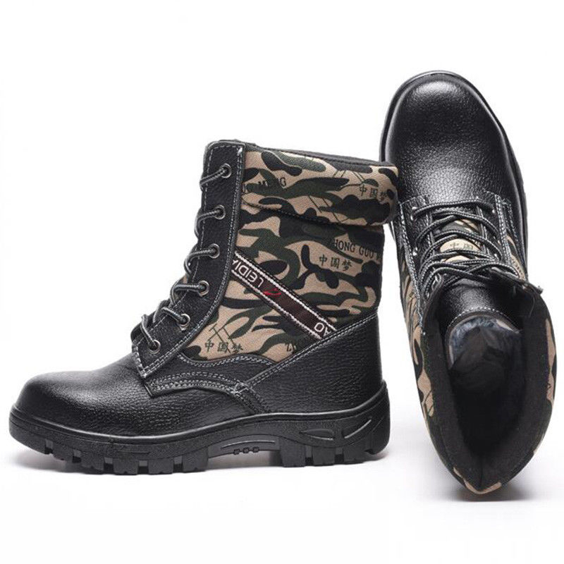 Winter Mens Camouflage Steel toe Fur Lined work Ankle boots Labor Safety shoes #