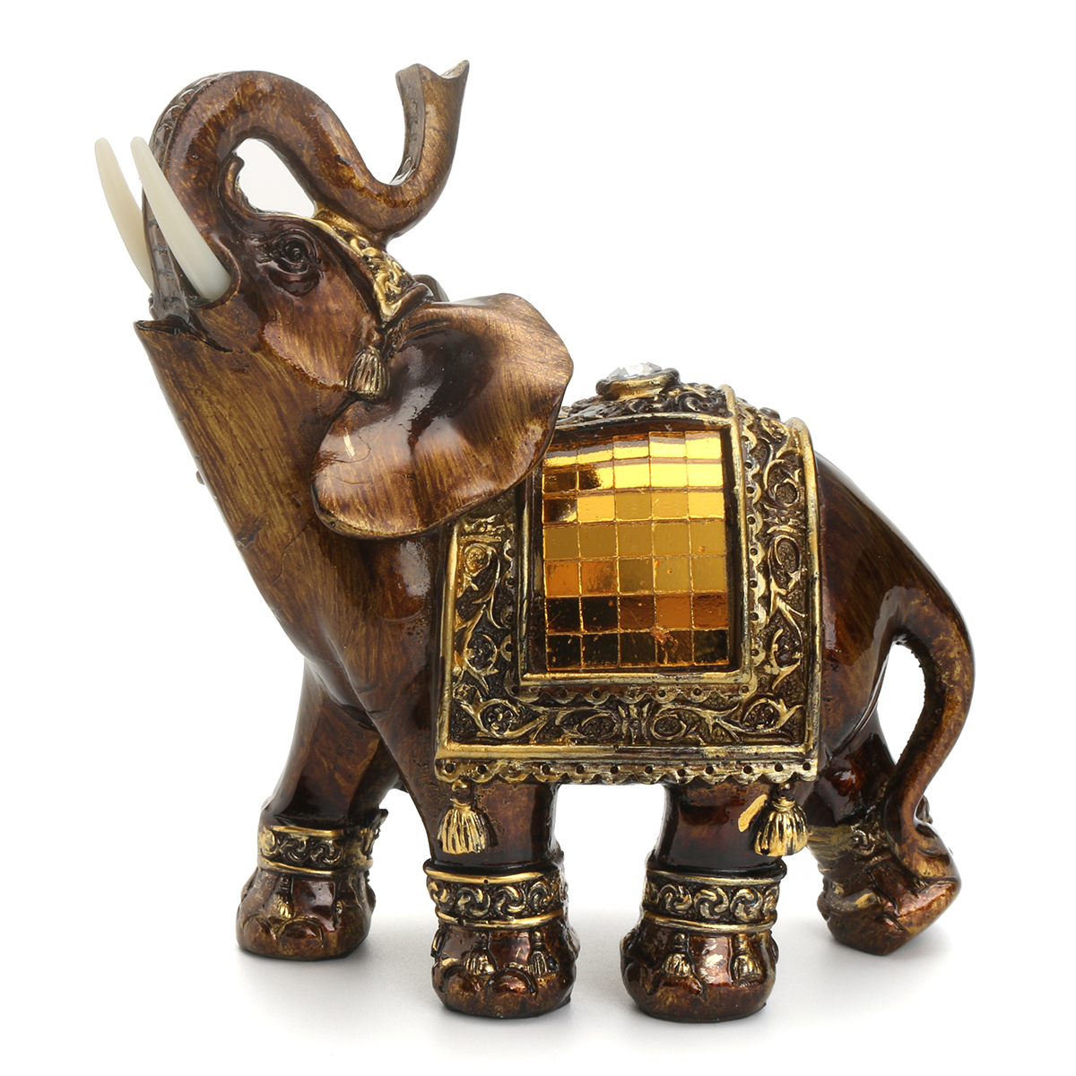 Resin Feng Shui Elegant Elephant Statue Lucky Wealth Figurine Home