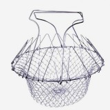 Stainless Steel Foldable Chef Basket Fried Potato Chips Strainer Outdoor BBQ Picnic Accessories