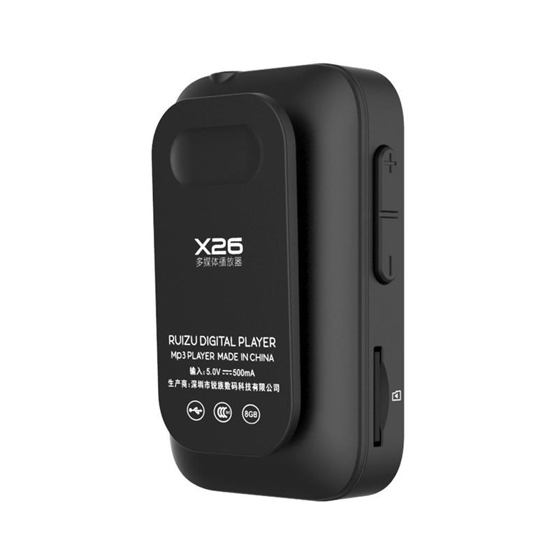 Ruizu X26 Clip Bluetooth 8GB Sport MP3 Music Player Voice Recorder FM Radio Support TF Card