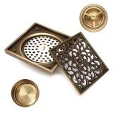 Antique Brass Square Floor Drain for Bathroom Kitchen w/ Strainer Grate 10X10X4.5cm