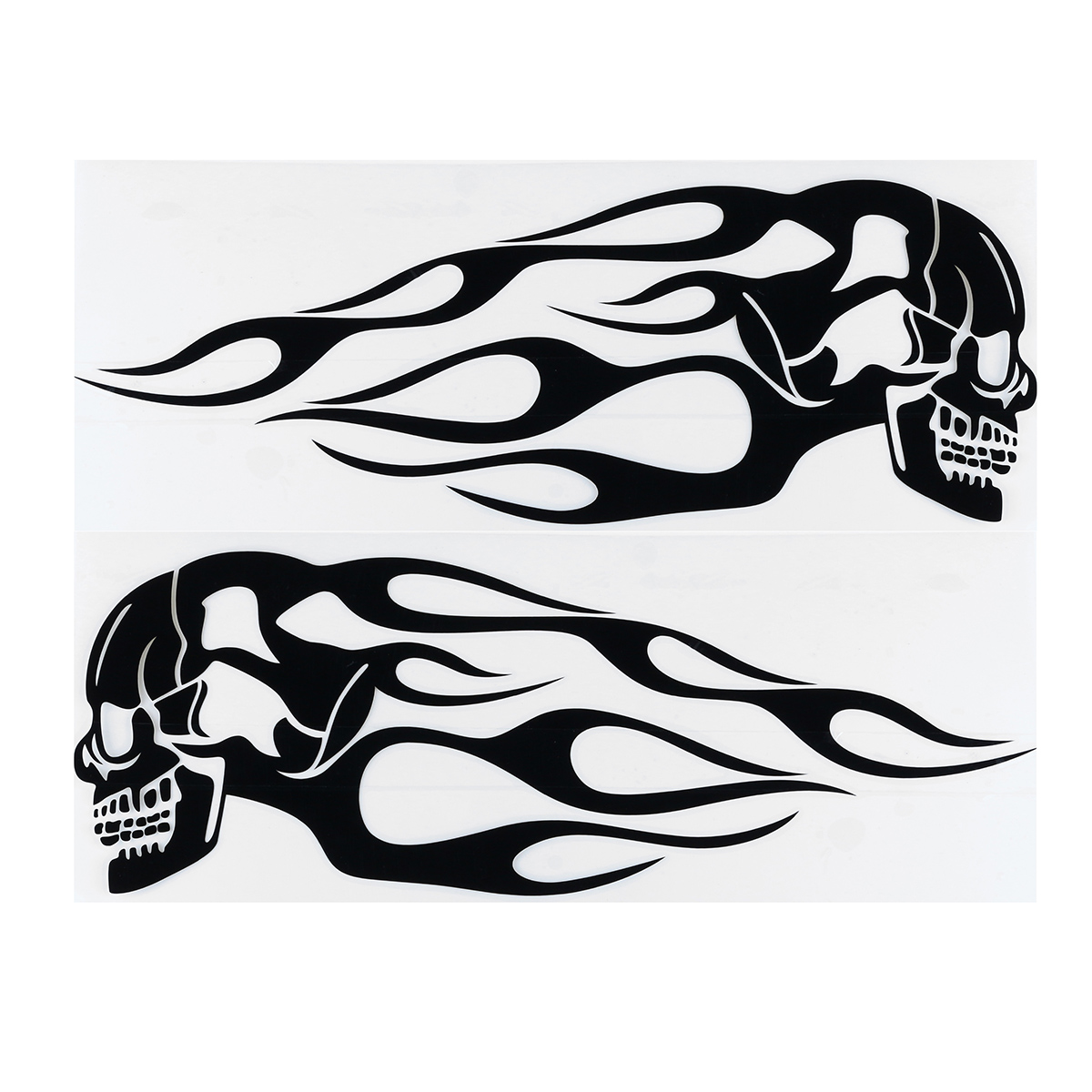 2pcs 13 5x5inch Universal Motorcycle Gas Tank Flames Skull Badge Decal Sticker