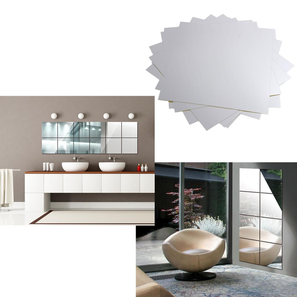 9Pcs 1515cm Mirror Sheets Square Non Glass Mirrors Tiles ...