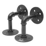 2pcs 3/4 Inch Iron Pipe Shelf Bracket Industrial Pipe Scaffold Board Shelf Brackets