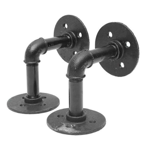 2pcs 3 4 inch iron pipe shelf bracket industrial pipe scaffold board shelf brackets. Black Bedroom Furniture Sets. Home Design Ideas