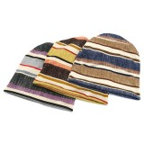 Unisex Autumn Winter Warm Polyester Striped Hat Multi Functional Outdoor Cycling Turban Hat Scarf