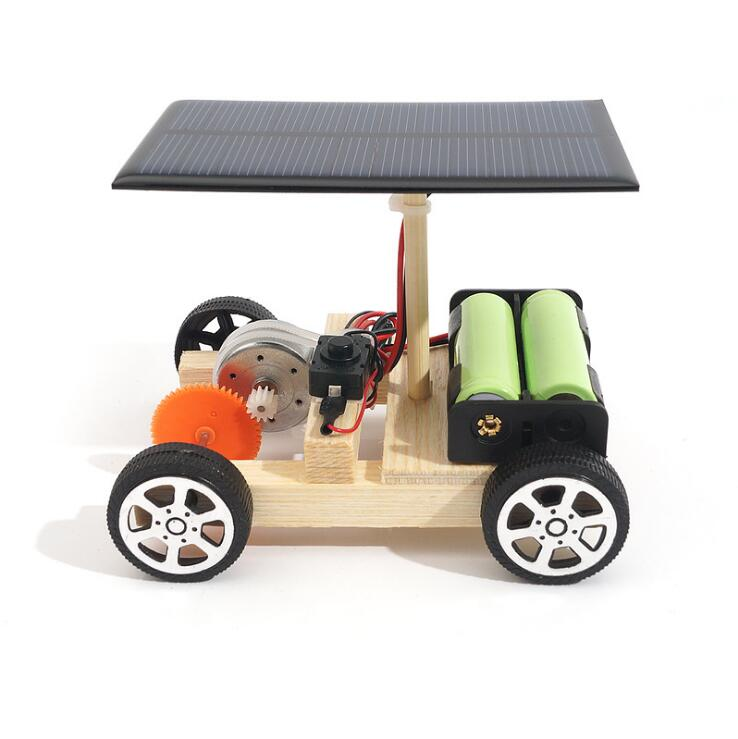 Solar Powered Electric Motor Kit: DIY Solar Hybrid Electric Car Wooden Assembly Science