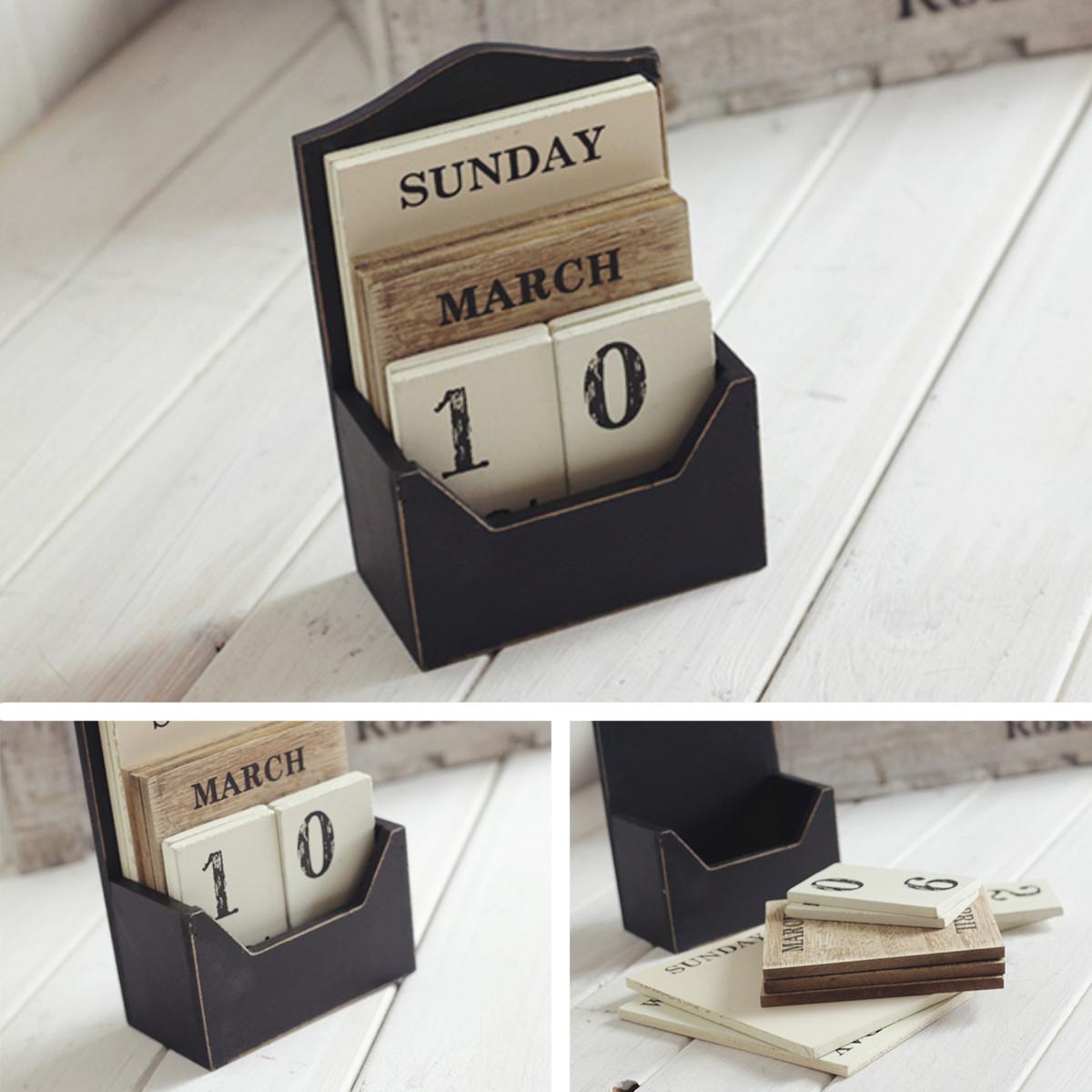 More Details Detailed Photos Vintage Wood Block Perpetual Desktop Calendar
