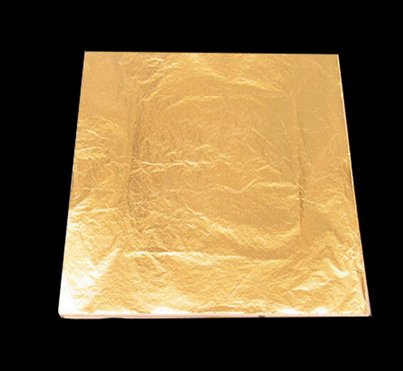 100Pcs Imitation Gold Foil Sheets Copper Leaf Sheets Transfer Leaf Sheets Gold Leaf Booklet 16cm16c
