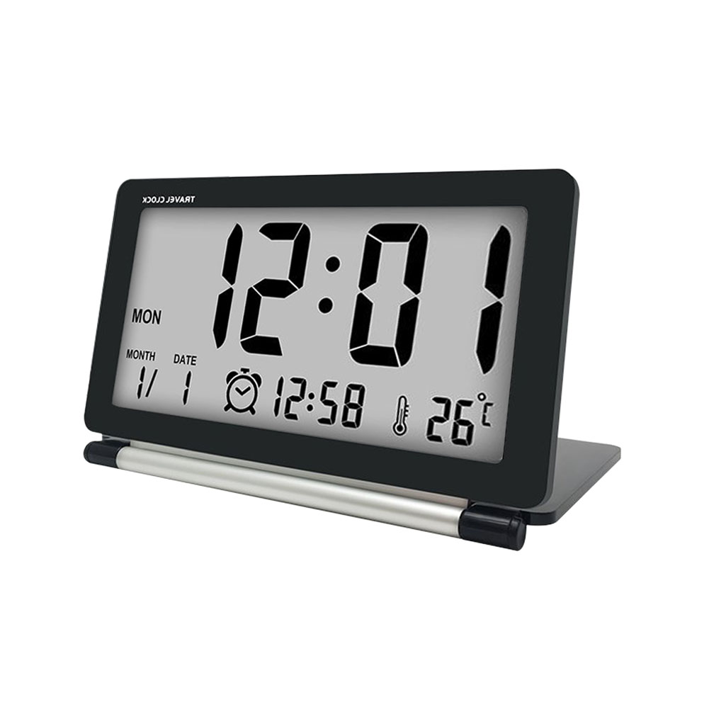 Loskii Dc 11 Electronic Alarm Clock Travel Multifunction Silent Lcd Digital Large Screen Folding