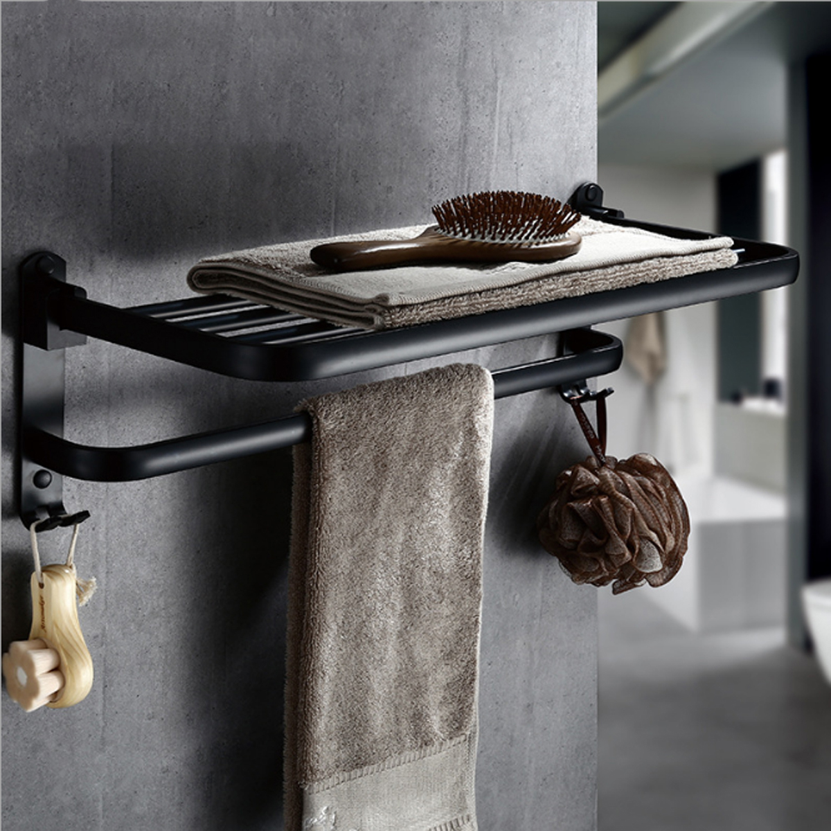 Foldable Vintage Towel Rack Black Brief Aluminum Towel Folding Towel ...