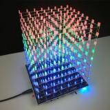 DIY WIFI APP 8x8x8 3D Light Cube Kit Red Blue Green LED MP3 Music Spectrum Electronic Kit No Housing
