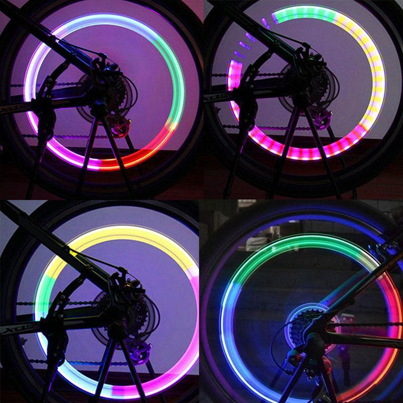 XANES WL04 Vibration Induction Bicycle Wheel Light Nozzle Spoke Light for Schrader Valve Woods Valve