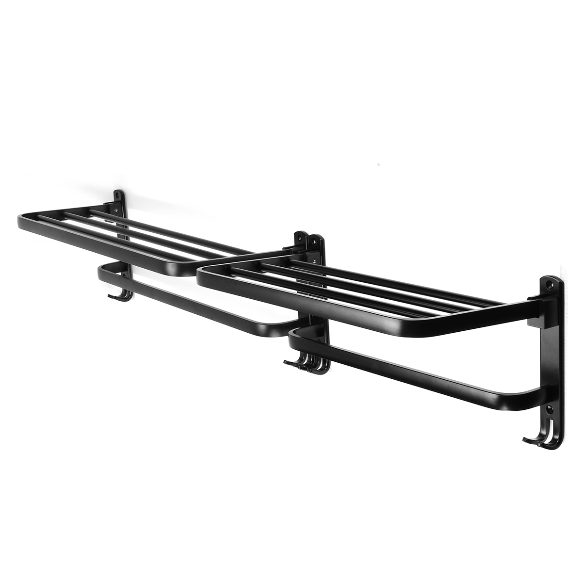 Foldable Vintage Towel Rack Black Brief Aluminum Towel Folding Towel Holder Double Bath Shelves Towel Rail Bathroom Fixed Accessories