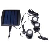 Solar Powered 3 Underwater Spotlights Waterproof IP68 LED Outdoor Garden Pool Pond Landscape Lights