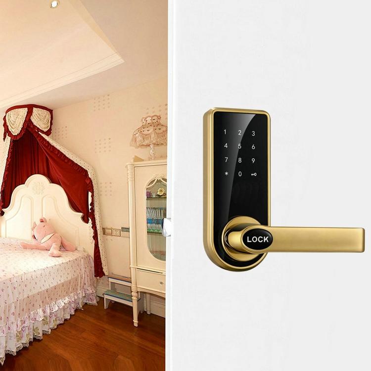 OS8818-JS Password + Key + Sensor Card Zinc Alloy Red Bronze Electronic Door Lock Touch Screen Electronic Code Lock (Gold)