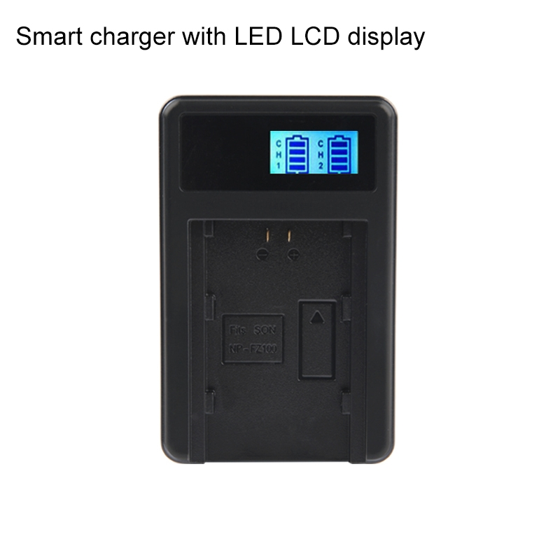 Digital LCD Display Battery Charger with USB Port for Sony NP-FZ100 Battery, Compatible with Sony A9 (ILCE-9)