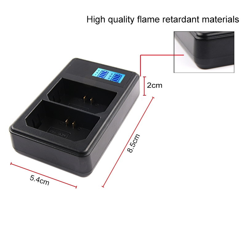 Dual Channel Digital LCD Display Battery Charger with USB Port for Sony NP-FZ100 Battery, Compatible with Sony A9 (ILCE-9)