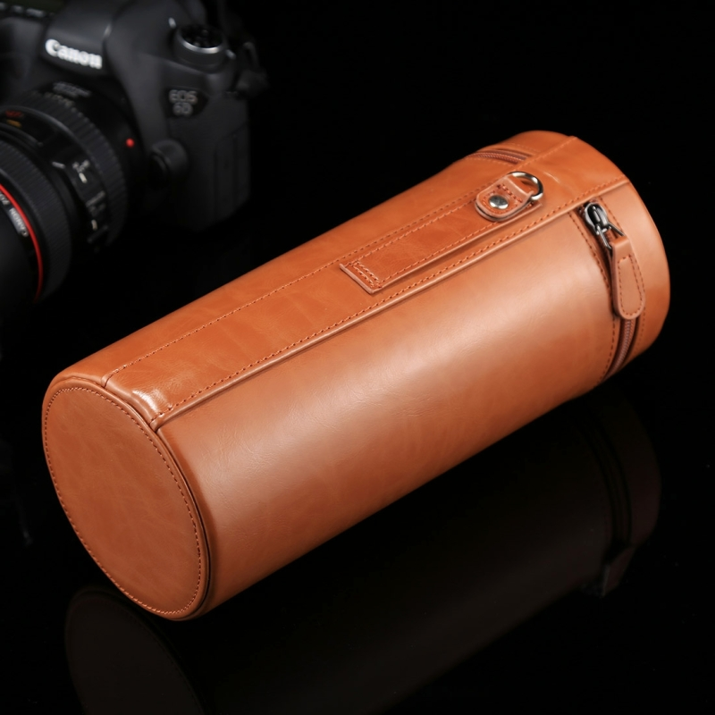 Color : Brown ZQ House Small Lens Case Zippered PU Leather Pouch Box for DSLR Camera Lens Size 11x8x8cm
