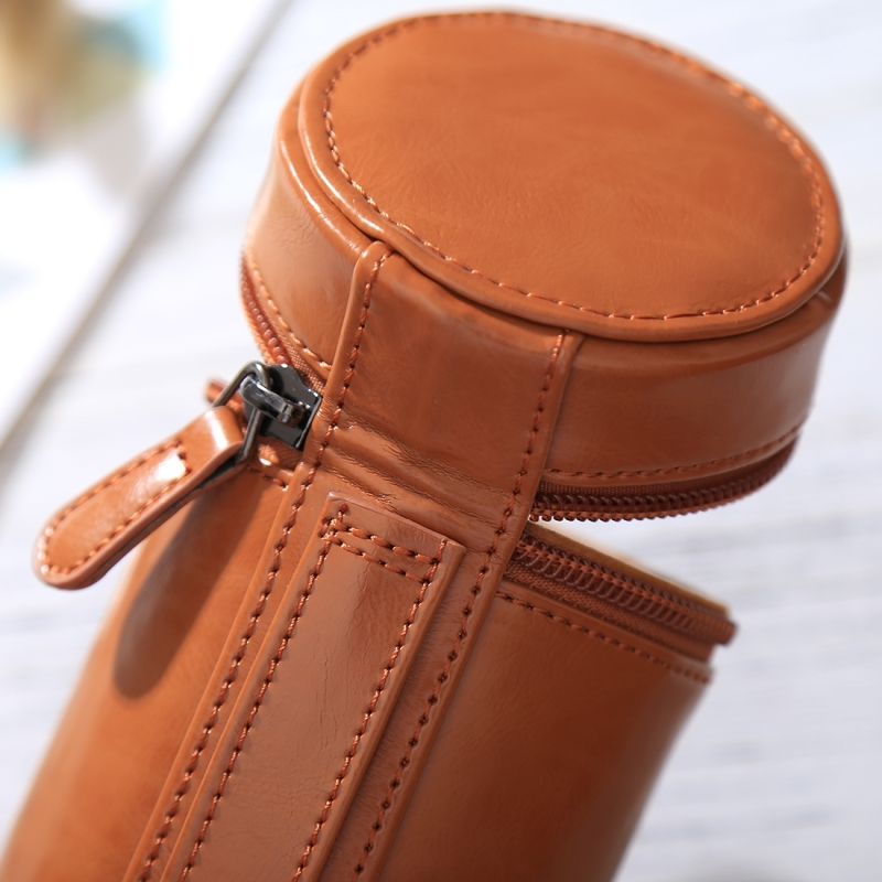 Color : Coffee Black Size: 13x9x9cm HoodensYHM Medium Lens Case Zippered PU Leather Pouch Box for DSLR Camera Lens
