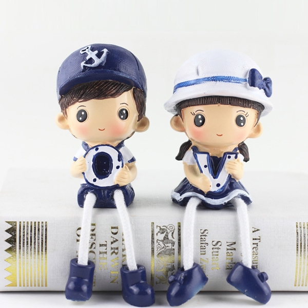 Creative Resin LOVE Navy Family Set Dolls Ornaments Wedding Bedroom Decoration Gifts (Blue)