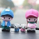 Resin Crafts Hatted Lover Dolls Chain Puppy Dog Ornaments Room Car Decoration Gift, Random Style