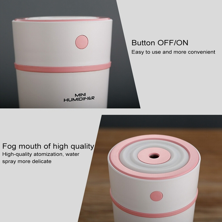300ML Mini Portable Cup Shape USB LED Night Light Ultrasonic Humidification Air Humidifier for Home / Office / Car (Pink)