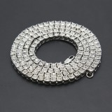 Mens Hip Hop Punk Single Row Crystal Inlaid Alloy Chain Necklace, Size: 24 inch (White)