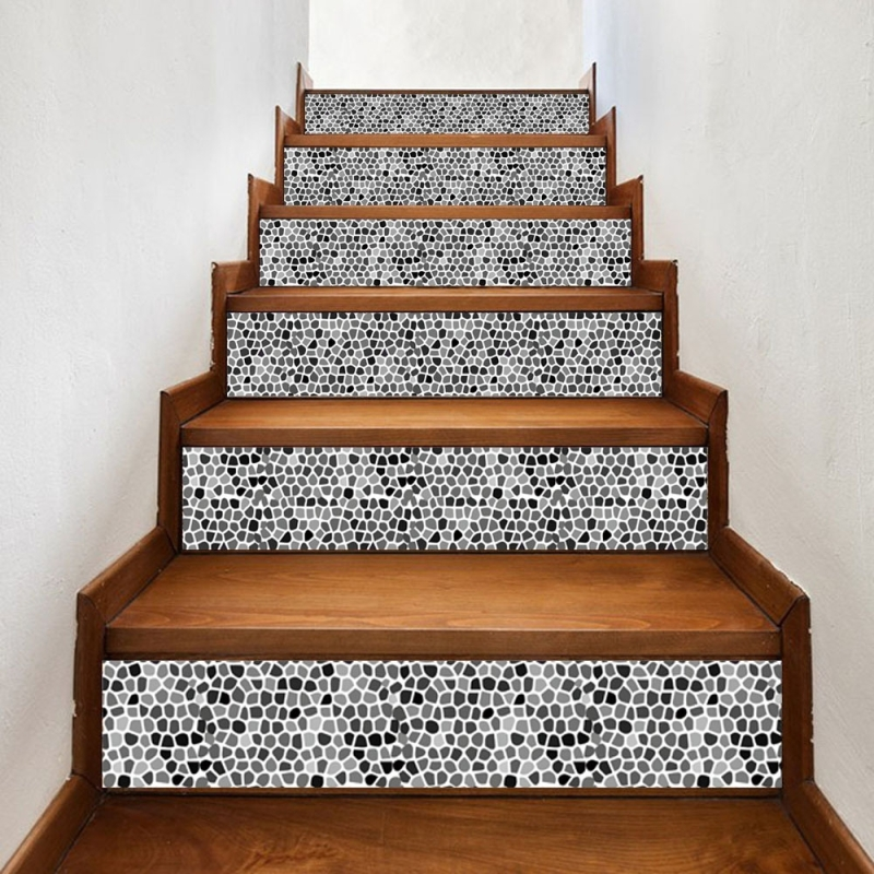 6 Pcs Diy Creative Ceramic Tile Stairs Sticker Home Decoration