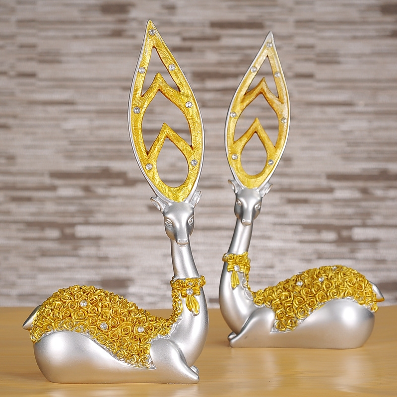 Creative European Style Sika Deer Resin Ornaments Gift Home Decor (Gold)
