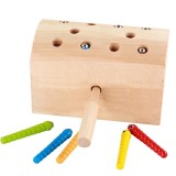 Children Wooden Magnetic Catching the Caterpillar Matching Games Parent-child Interaction Educational Toys (Wood Color)