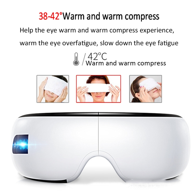 Smart Hot Compress Eye Pressure Massager, Support Bluetooth Music Playback (White)