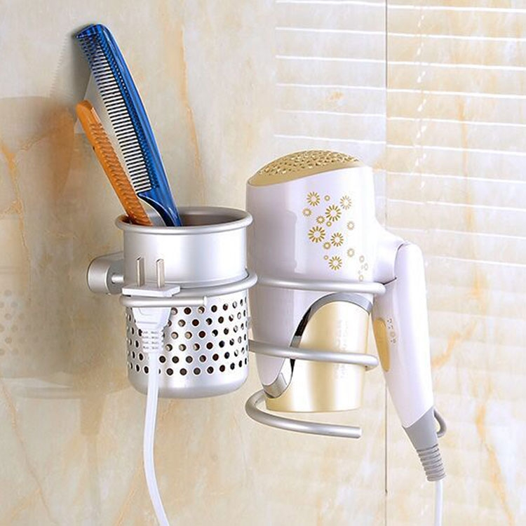 Hair Dryer Holder Wall Mount Hanging Rack Organizer Hook Spiral Bathroom Bracket